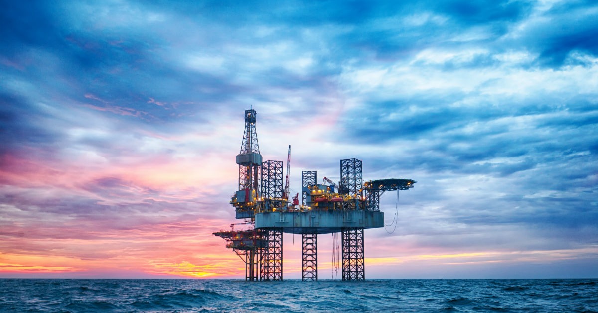 oil rig sunset